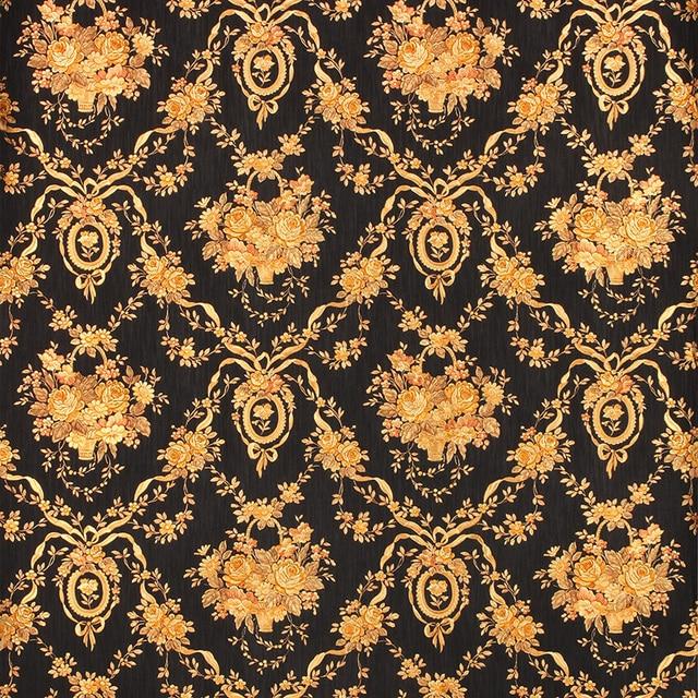 European Luxury Black Floral Background Wallpaper 3D
