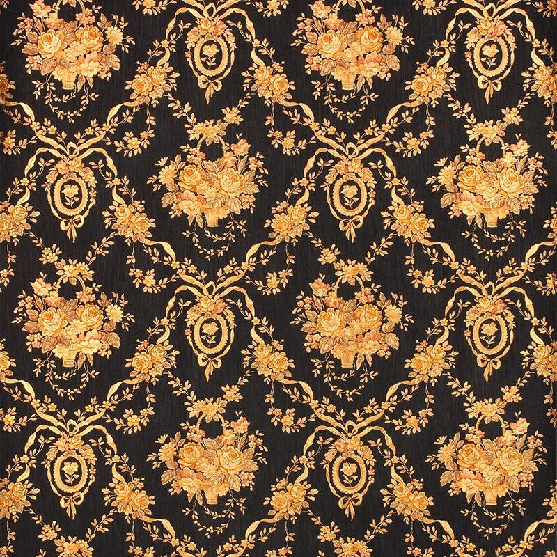 Papier peint Floral noir de luxe européen papier peint 3D en relief feuille d'or papier peint rouleau 3D PVC papier peint pour murs