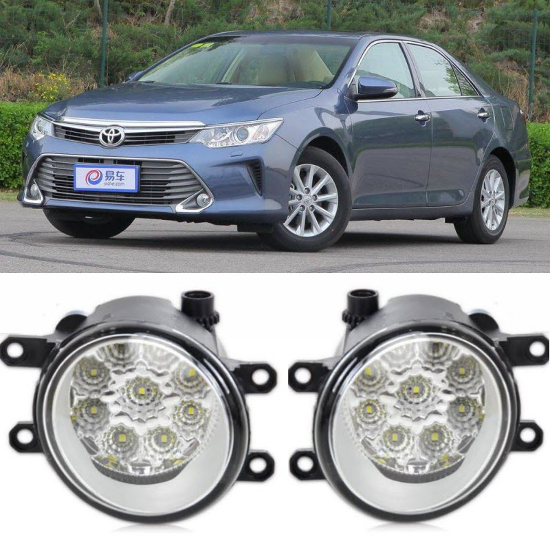 Car-Styling For Toyota Camry 2014 2015 2016 9-Pieces Leds Chips LED Fog Head Lamp H11 H8 12V 55W Halogen Fog Lights car styling fog lights for toyota camry 2012 2014 pair of 12v 55w front fog lights bumper lamps daytime running lights