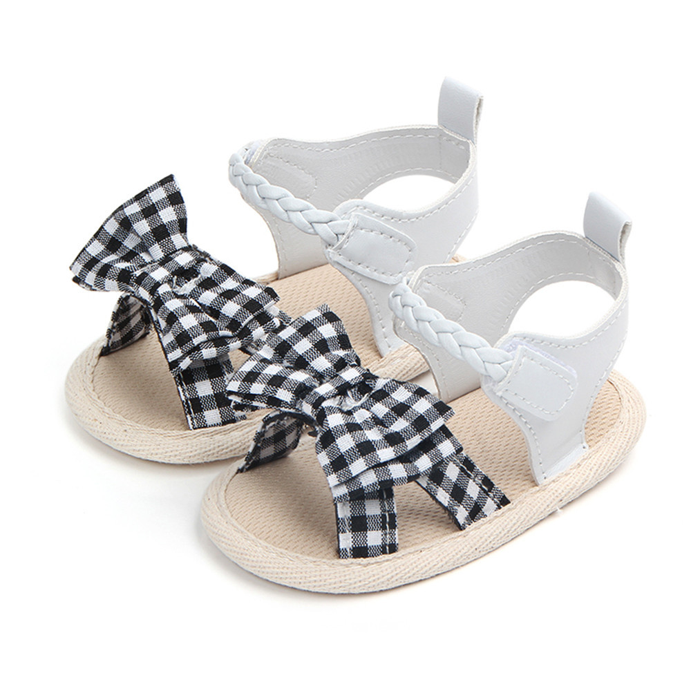 SAGACE 2018 Infant Baby Boy Girl Summer Shoes Bow Plaid Soft weave Bow tie Crib Anti-slip Summer Shoes