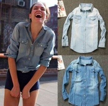 20da5ef70c9a46 2013 2013 New women denim shirt long sleeves western slim denim blouse  Casual jeans wear for women купить на AliExpress