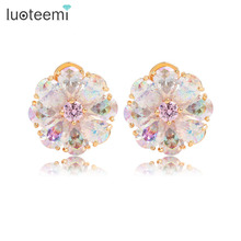 LUOTEEMI Luxury Trendy  Perfect Pearl Cut  Rainbow Cubic Zircon Flower Earrings for Women Champagne Gold Color Jewelry