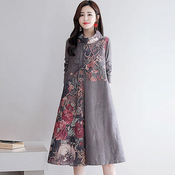 US $27.43 50% OFF|2019 New Autumn Women Dresses Plus Size Cotton Dress  Winter Thick Long Sleeve Turtleneck Print Vintage Dress DC440-in Dresses  from ...