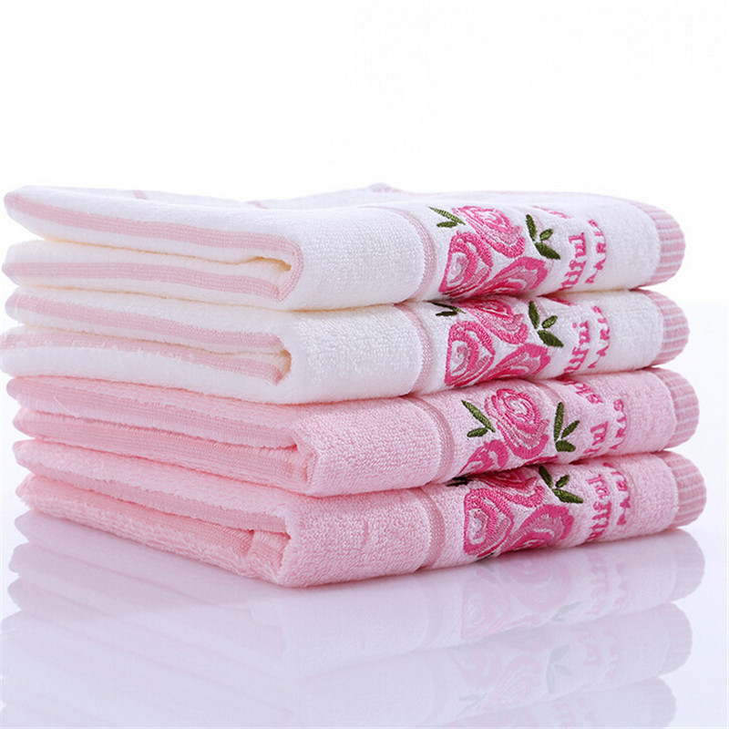 Rose Embroidered Towels: 34x34cm 100% Cotton Absorben Quick Dry Baby Face Towel