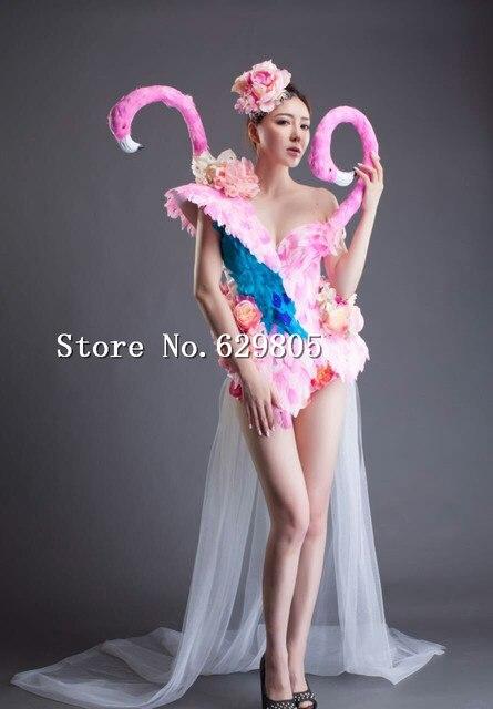 Flor rosa Bodysuit Vestidos de Cauda Longa Cisne Menina Partido Feminino Vestido Cantor Palco Show de Senhora Roupa do Baile Boate Traje Conjunto