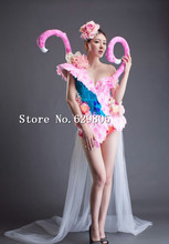 Pink Flower Bodysuit Long Tail Swan Dresses Girl Party Dress Female Singer Stage Show Lady Prom Outfit Costume Nightclub Set