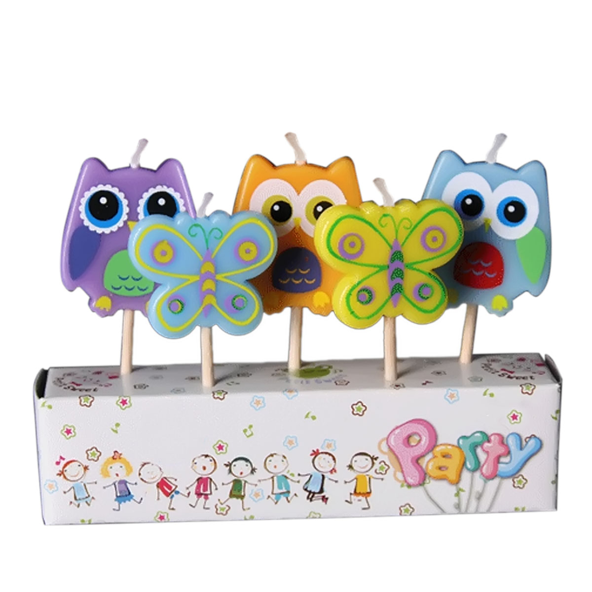 5 Pcs Parafin Gambar Kartun Anak Pesta Ulang Tahun Kue Lilin Dekorasi dengan Tongkat Kayu Burung Hantu dan Kupu-kupu