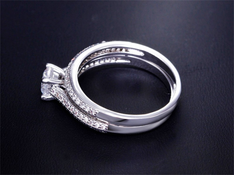 100% 925 Sterling Silver Rings for Women Double Simple Design Ring Bijoux Femme Bridal Wedding Jewelry Engagement Accessories