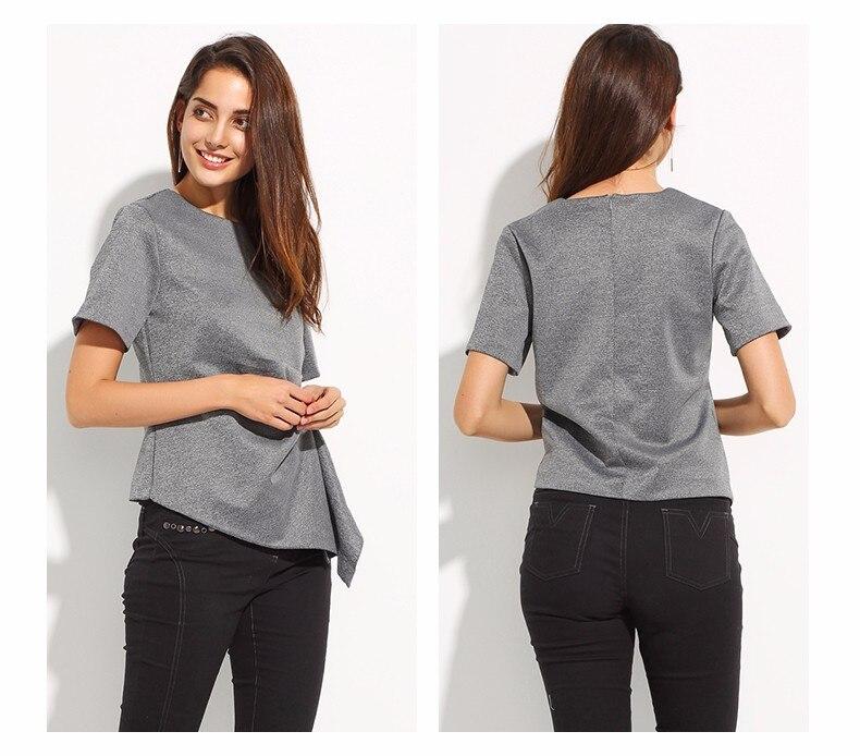 Short Sleeve O-Neck Irregular Pleated Top T-shirt 4