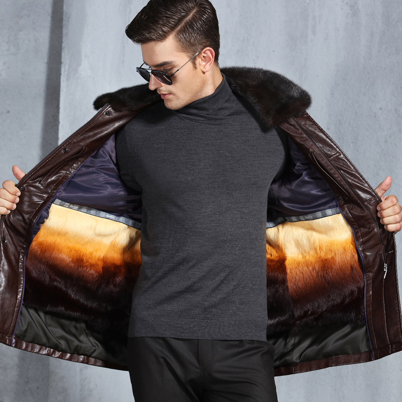 Winter Warm Men s Jacket Leather Whole Fur Inside and Rabbit Fur Collar chaqueta moto hombre