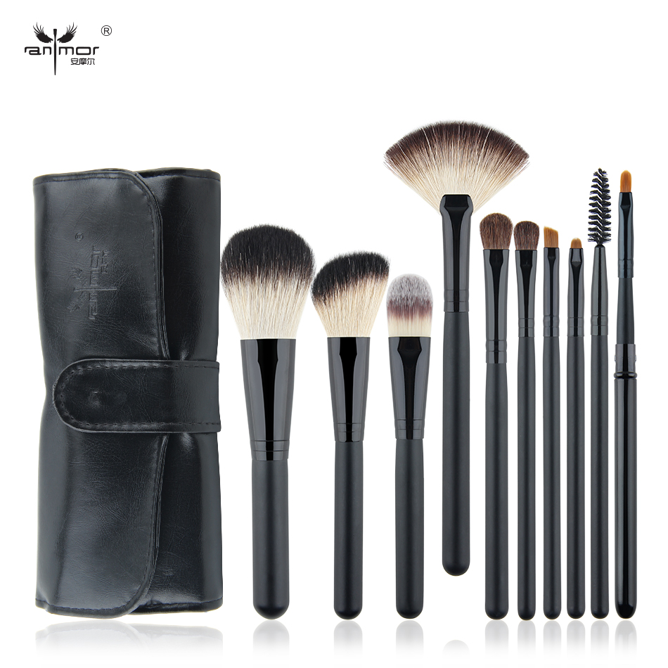 Anmor 10Pcs Makeup Brushes Make Up Brush Travel Portable Foundation Set Eyebrow Eyeshadow Soft Cosmetic Kit Pinceaux Maquillage