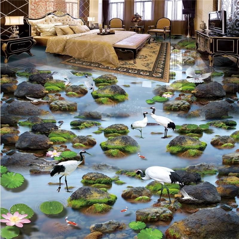 Beibehang Customized Modern Papel De Parede Wallpaper Flowing Water Stone White Dew Crane Lotus Squid 3D Three-dimensional Floor