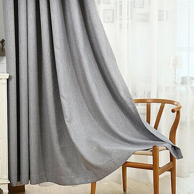6 Colors Solid Grommet Linen Window Curtain Foam Lined