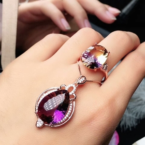 Image 2 - MeiBaPJ Natural High Quality Ametrine Fine Wedding and Party Jewelry Set 925 Pure Silver Necklace and Ring Suit for Women