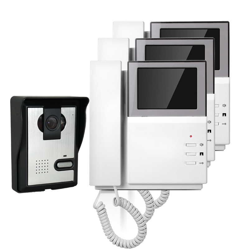 FREE SHIPPING Hand Hold 4.3 Color Video Intercom Door Phone 3 Indoor Monitors + Night Vision Outdoor Doorbell Camera In Stock free shipping new handheld 4 3 inch color tft video door phone doorbell intercom night vision door bell camera 3 screen in stock