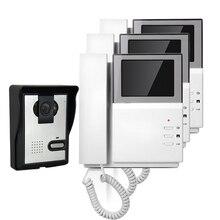 Buy online FREE SHIPPING Hand Hold 4.3″ Color Video Intercom Door Phone 3 Indoor Monitors + Night Vision Outdoor Doorbell Camera In Stock