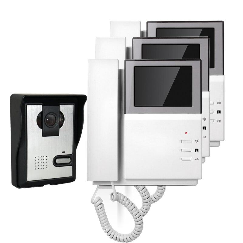 FREE SHIPPING Hand Hold 4.3 Color Video Intercom Door Phone 3 Indoor Monitors + Night Vision Outdoor Doorbell Camera In Stock