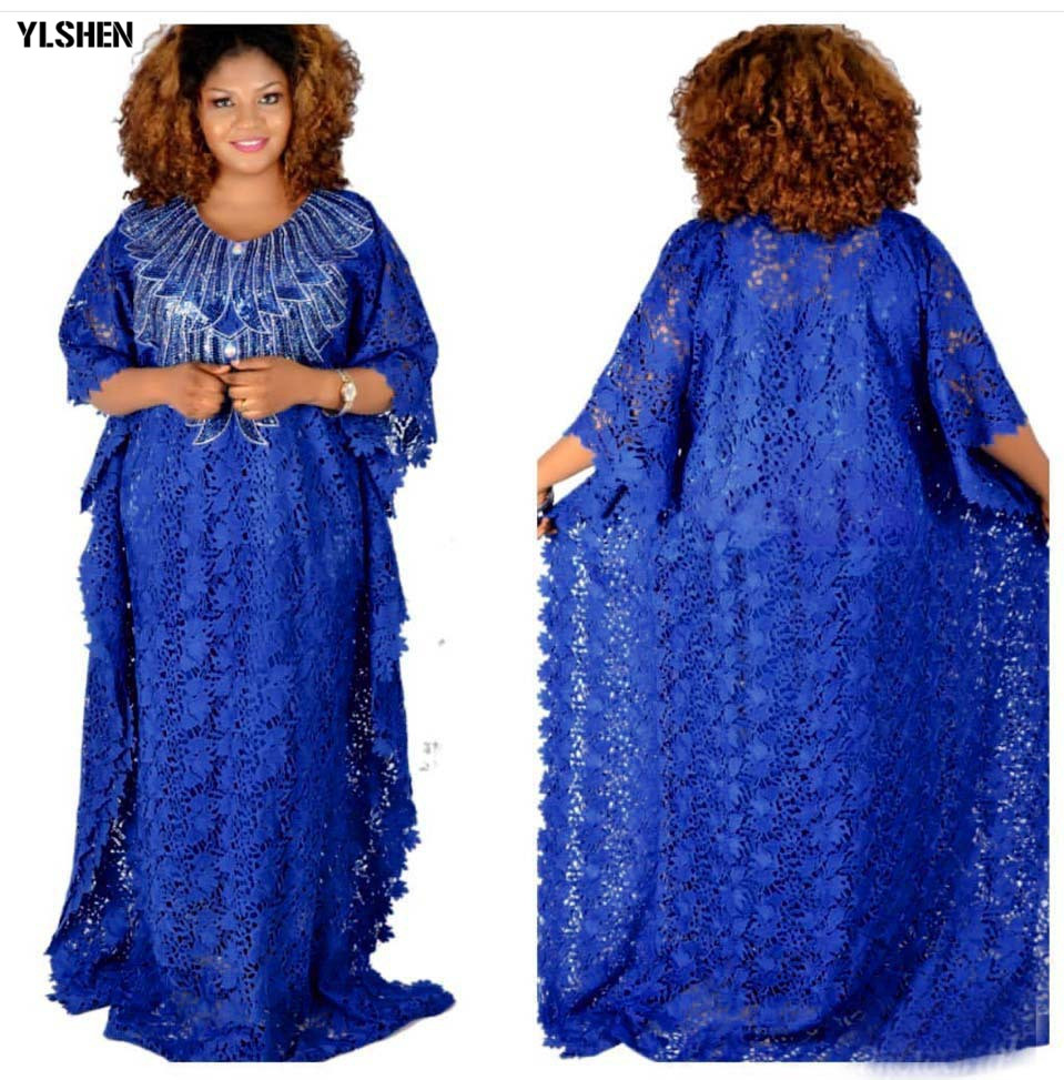 Plus Size Long African Dresses For Women Dashiki Fashion Water-soluble Lace Loose Skirt With Beaded Embroidery Boubou Africain