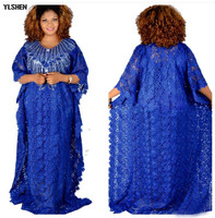 Plus Size Long African dresses for women Dashiki fashion Water soluble lace loose skirt with beaded embroidery boubou africain