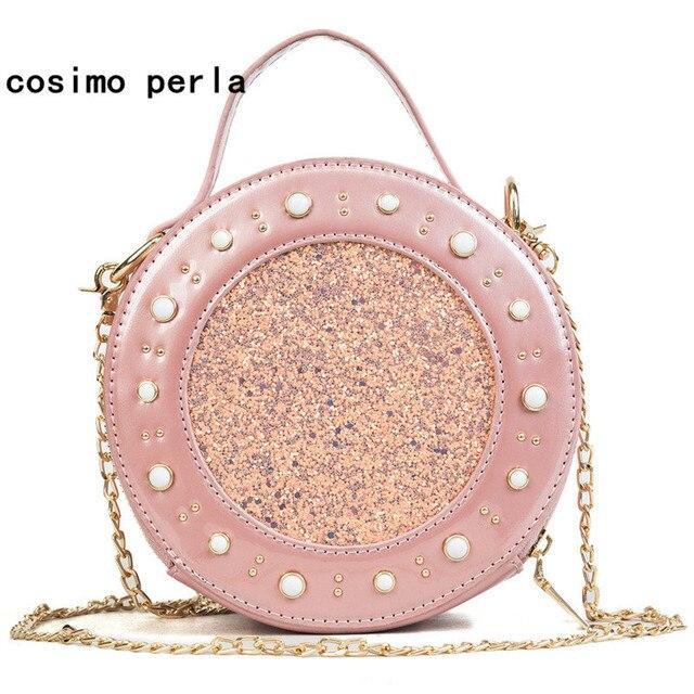 Korea Lady Sequins Bags Mini Circular Patent Leather Pink Crossbody Bags  for Women Flap Purse Rivet