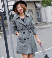 Autumn Winter Women Coat Female Korean Fashion Slim Long Double Breasted Coat