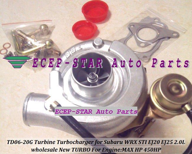 NOUVEAU TD06 20g TD06-20G Turbo Turbine Turbocompresseur Pour SUBARU Impreza WRX STI Moteur: EJ20 EJ20T EJ25 2.0L MAX Puissance 450HP