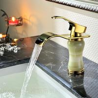 factory direct imitation of classical European wide copper hole marble waterfall natural jade gold plated faucet
