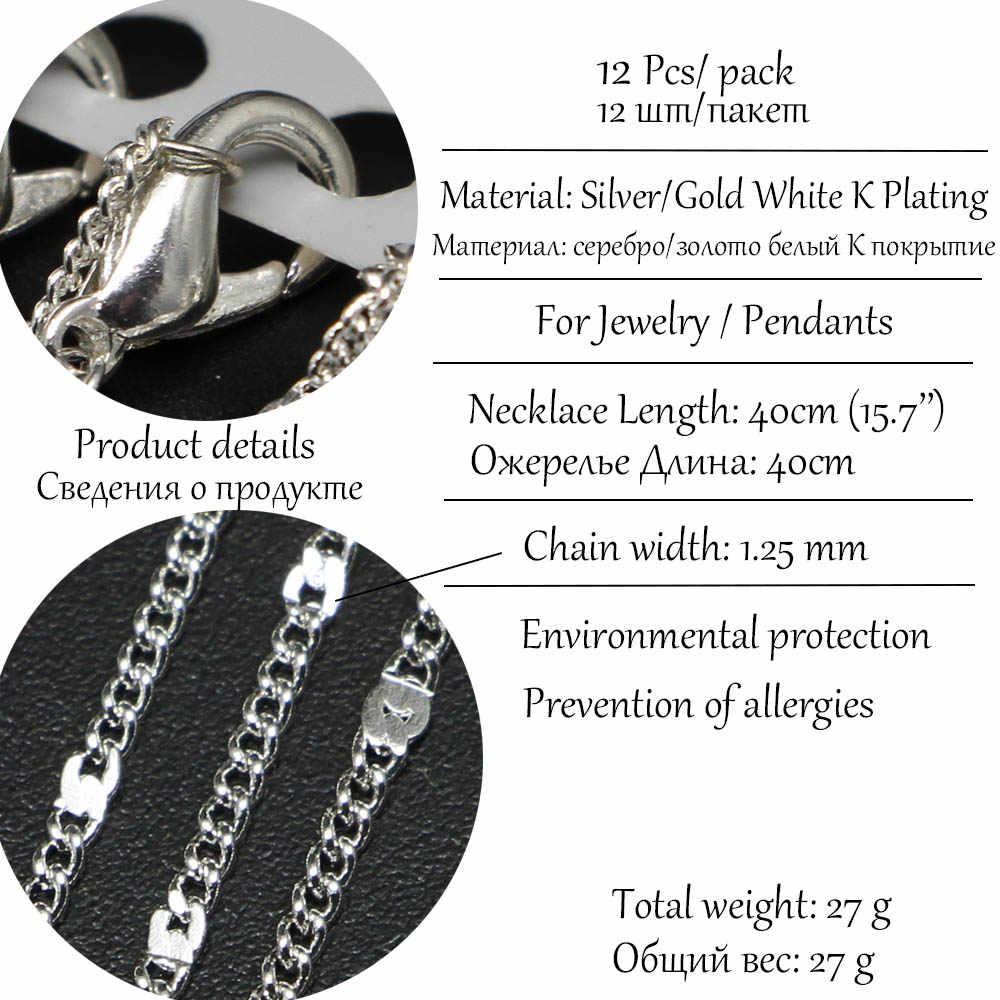12 ชิ้น/แพ็ค 40 ซม.สีขาว K Silver GOLD Lobster Claw Clasp สร้อยคอโซ่ DIY วัสดุเครื่องประดับจำนวนมากขายส่ง