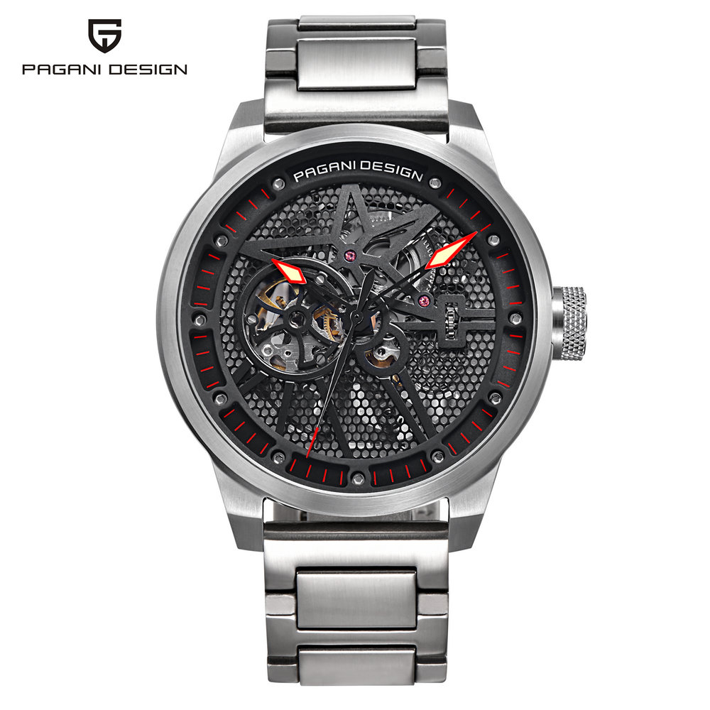 PAGANI DESIGN Original Men Luxury Wristwatches Mechanical Automatic Self-Wind Silver Black Stainless Steel Male Watches PD-1625 pagani men stainless steel watches mechanical wristwatches automatic self wind complete calendar water resistant clock brand