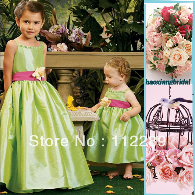 49c7a4e2523 Discount Spaghetti Strap Traffeta Ruffle Apple Green Flower Girl Dresses  With Red Sash HG558