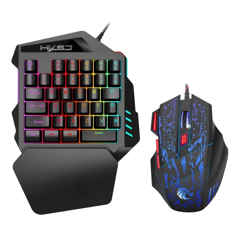 V100+H300 One-Handed Gaming Keyboard 35 Keys Led Backlight + Wired Gaming Mouse With Breathing Light 5500 Dpi 7 Button Keyboar