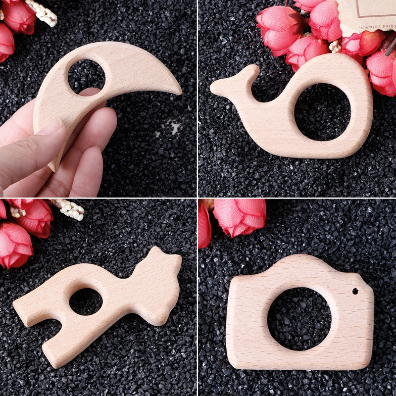 OOTDTY Handmade Natural Beech Wooden Teether Teething Giraffe Shape Baby Kids Chew Toys