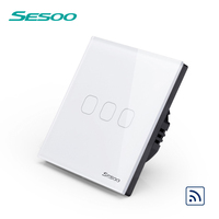 SESOO Touch Switch 2 Gang 1 Way Black Crystal Glass Switch Panel Single FireWire Touch Sensing