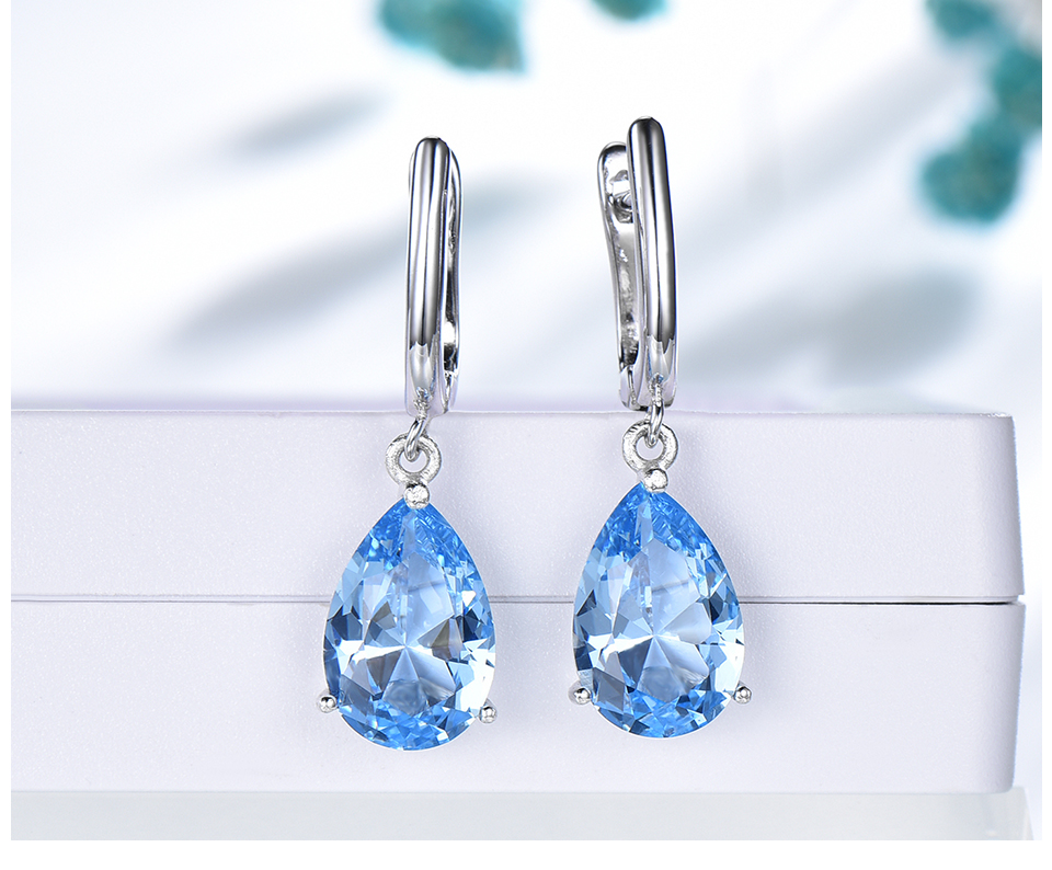 UMCHO  Nano Sky Blue Topaz 925 sterling silver earring for women EUJ095B-1-pc (5)