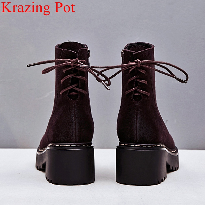 2018 new arrival cow suede zipper square high heels women ankle boots keep warm retro brand casual elegant winter shoes L05
