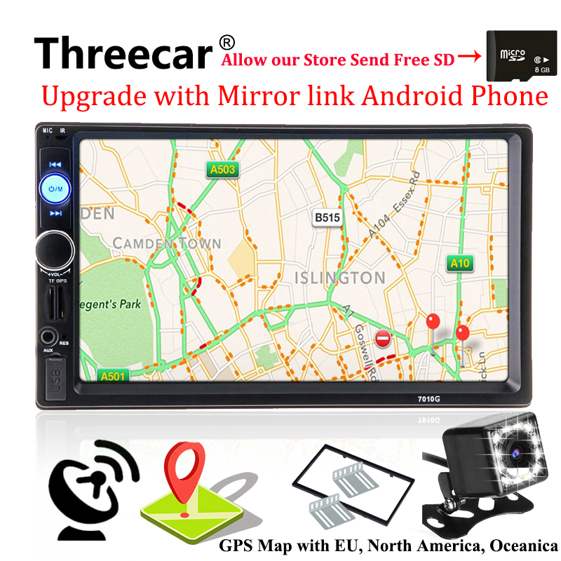 2 din GPS Navigation Autoradio Car Radio Multimedia Player Camera Bluetooth Mirrorlink Android Steering wheel Stereo