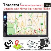2 din gps-навигация Авторадио автомобильный Радио мультимедийный плеер камера Bluetooth Mirrorlink Android рулевое колесо стереорадио