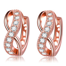 rose gold color Women fashion earrings jewelry inlaid AAA cubic Zirconia Valentines Gift bijoux BAGUES Accessories MYE053