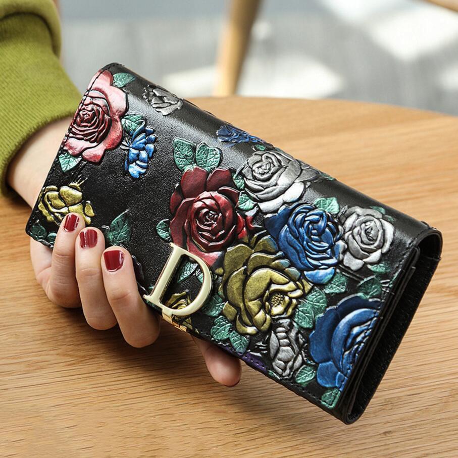 Genuine leather lady purse original retro ethnic style 3d printing wallet 1