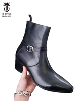 FR LANCELOT 2018 New Black Boots Men Real Leather Boots Western Style Cowboy Ankle Shoes High