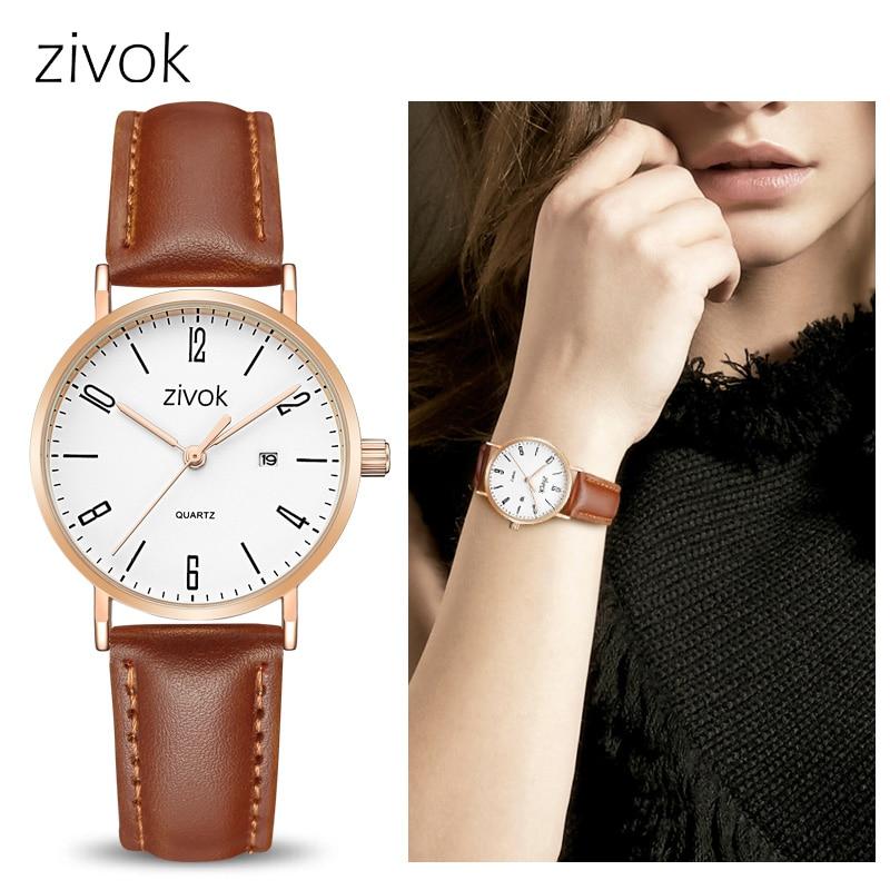 Zivok Mode Femmes Montres Relogio Feminino En Cuir Quartz Sport Montre-Bracelet Horloge Femmes Dames Couple Lovers Montre-Bracelet xfcs