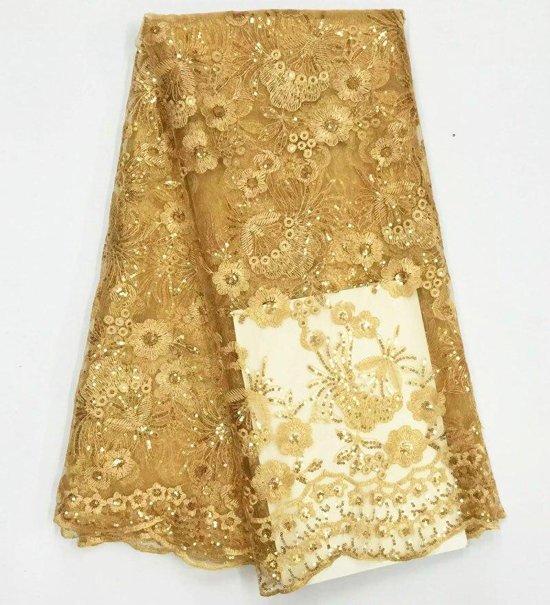 2017 Африканский Французский Шнурок Ткани Высокого Качества Африканская Тюль Кружевной Ткани С Блестками Для Свадьбы Золотой Цвет Французский Шнурок Ткани
