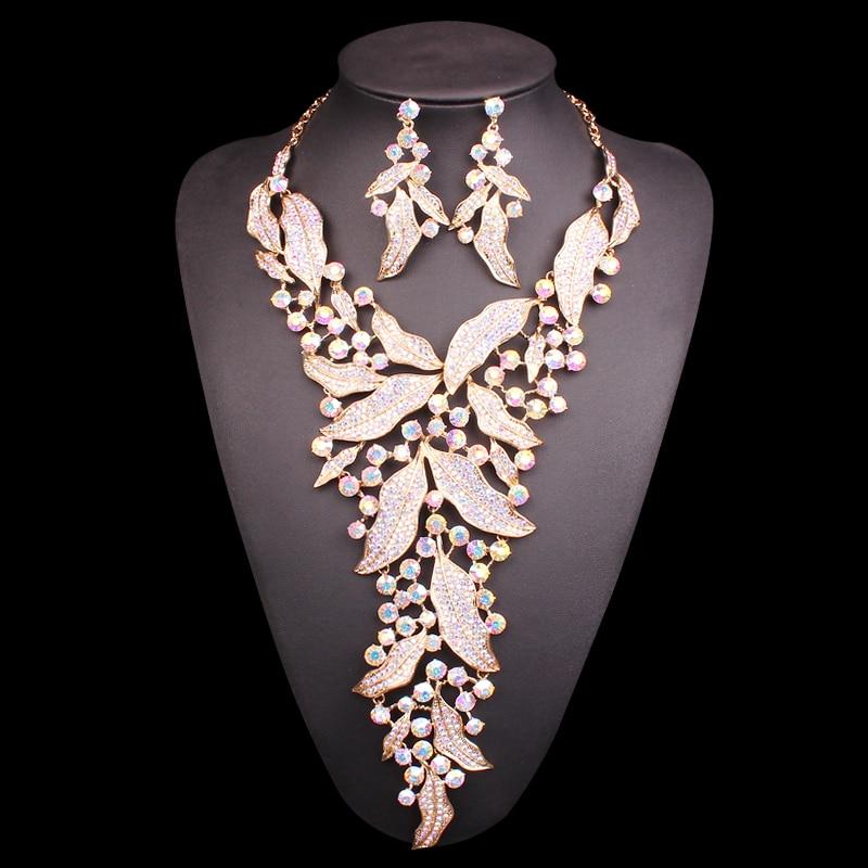 Mode strass bijoux de mariée ensembles pour les mariées collier et boucles d'oreilles bijoux de mariage Costume décoration accessoires