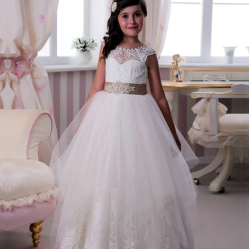 Sweet White Ivory Beading Lace Flower Girl Dresses For Wedding Ruffles Long Girls First Communion Gowns Special Occasion Dresses