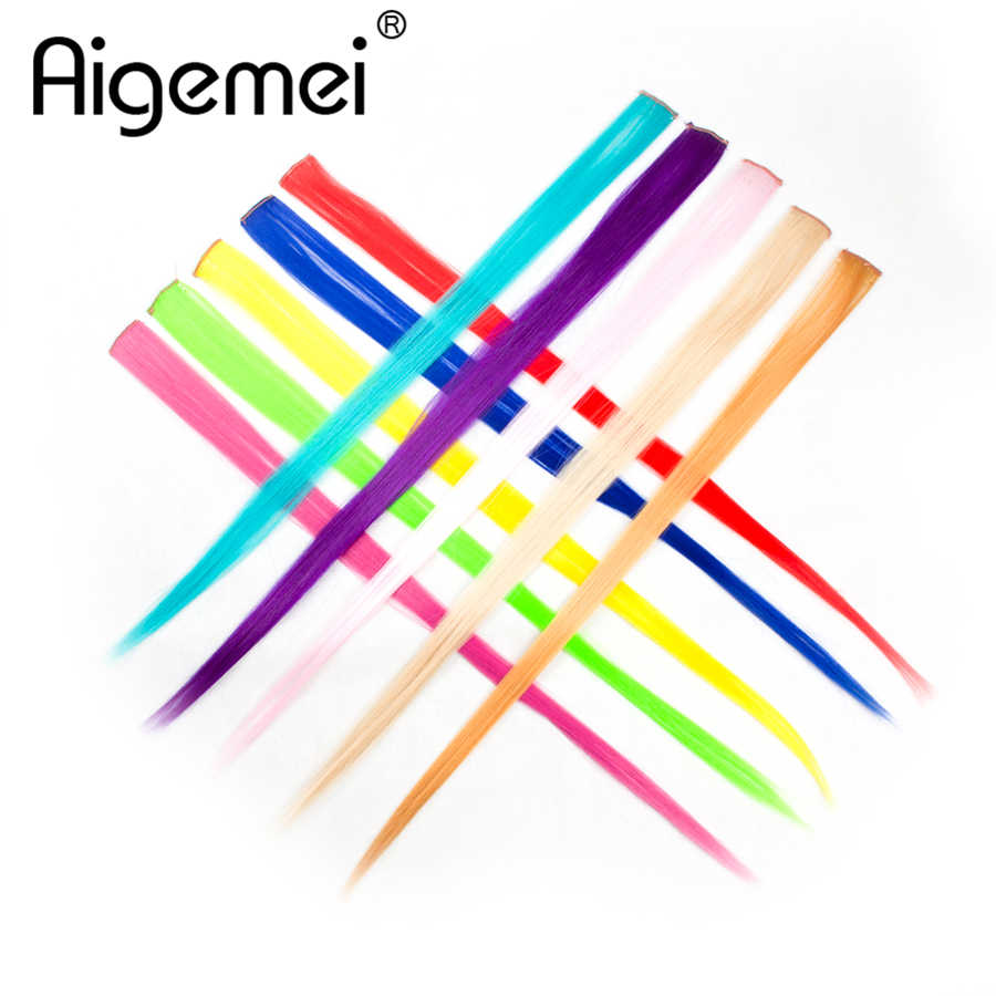 AIGEMEI For Hair 1 Piece 20 Inch 50cm Long Silky Straight Synthetic Single Clip In One Piece Hair Extensions