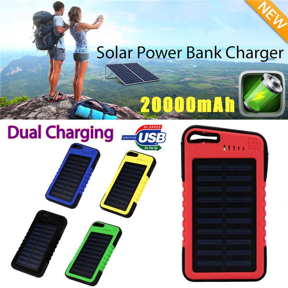 Neue 20000 mah Dual-USB Wasserdichte Solarenergienbank Ladegerät Für Handy für Iphone 6 S und 6 S Plus für Samsung Huawei