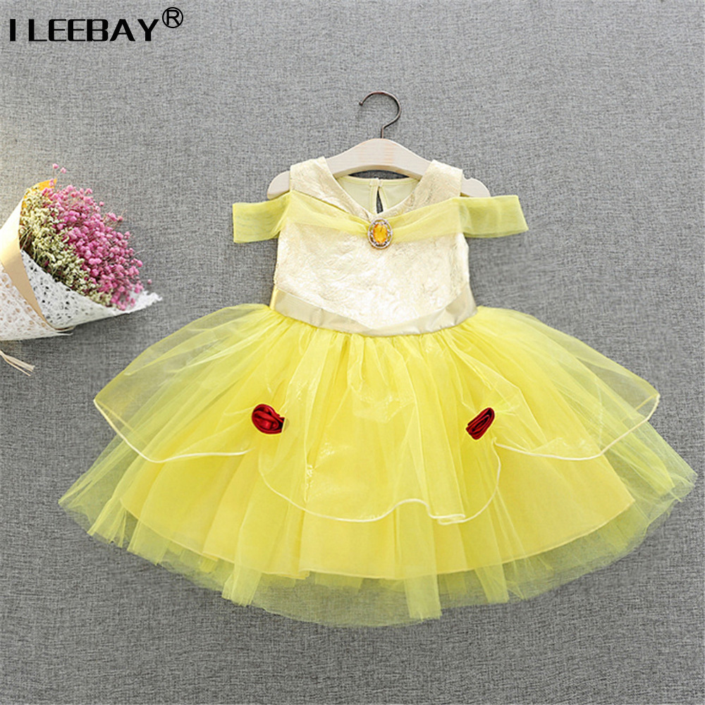 Girl Performance Clothing Baby Girls Clothes Belle Dress Kids Cute Yellow Costume Children Cosplay Vestido Girl Halloween Robe halloween costume cosplay dance party show props cute siamese bats clothes for kids 228g