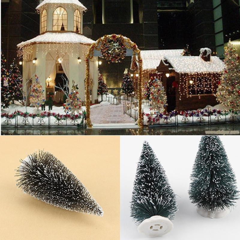 10*4.5cm Mini Christmas Tree Artificial Xmas Hemp trees Cedar Ornaments Festival Table Miniature Snow Tree Frost Village House image