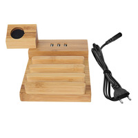 3 USB Powered Ports Mobile Phone Charging Stand Holder Bamboo Wood Charger Base Multifunctional Charge Support