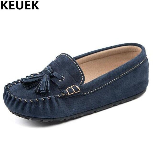 Zapatos niño y niña, zapatos de estudiante, mocasines niños cuero auténtico con borlas.